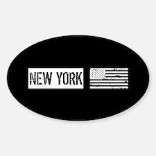 Black & White U.S. Flag: New York Decal