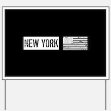 Black & White U.S. Flag: New York Yard Sign