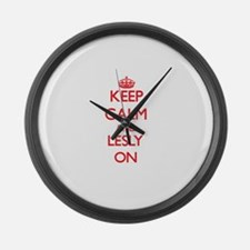 Keep Calm and Lesly ON Large Wall Clock