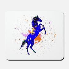 Splash Blue Horse Painting Mousepad