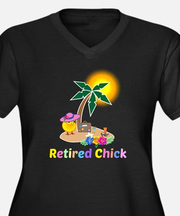 Retired Chic Women's Plus Size V-Neck Dark T-Shirt
