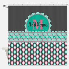 Teal and Pink Custom Personalized M Shower Curtain
