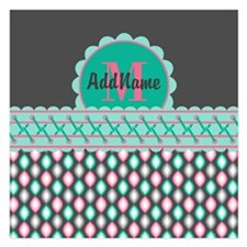 Teal and Pink Custom Person Invitations