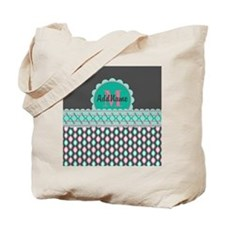 Teal and Pink Custom Personalized Monogra Tote Bag