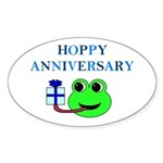 HAPPY/HOPPY ANNIVERSARY Oval Sticker