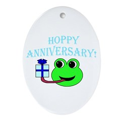 HAPPY/HOPPY ANNIVERSARY Oval Ornament