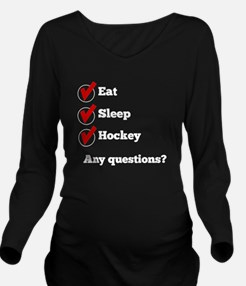 Eat Sleep Hockey Checklist Long Sleeve Maternity T