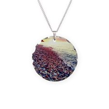 Sunset on the Sound Necklace Circle Charm