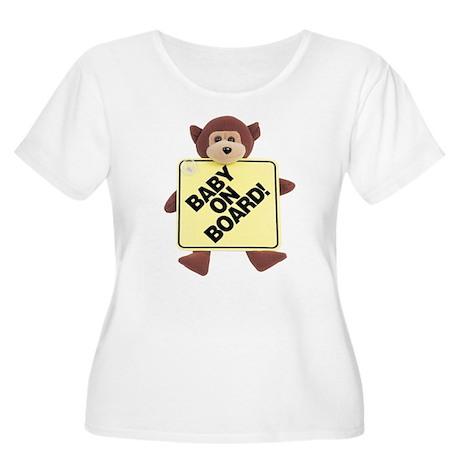 Baby on Board Women's Plus Size Scoop Neck T-Shirt