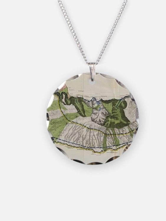 Vintage Map of Molokai Hawai Necklace