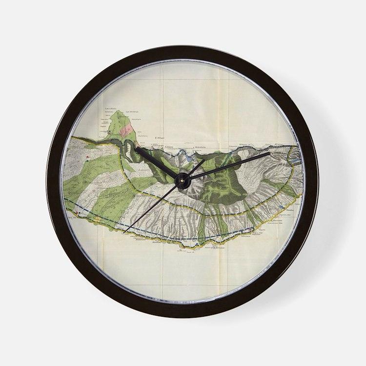 Vintage Map of Molokai Hawaii (1906) Wall Clock