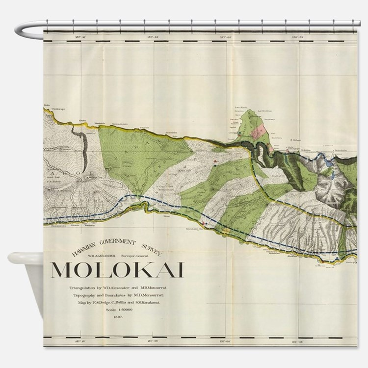 Vintage Map of Molokai Hawaii (1906 Shower Curtain
