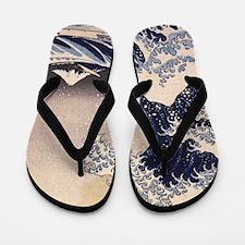 Great Wave by Hokusai, Vintage Japanese Flip Flops