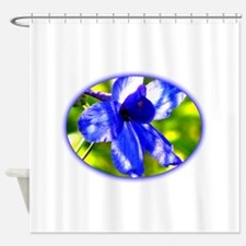 Blue flower lily Shower Curtain