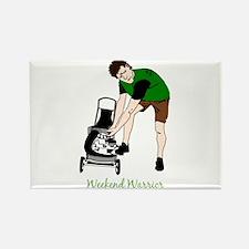 Weekend Warrior Lawn Mower Man Cartoon Magnets