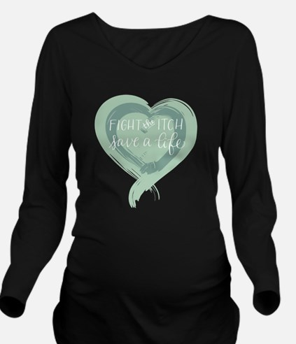 Tagline Heart - Figh Long Sleeve Maternity T-Shirt