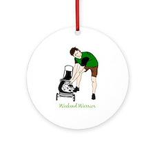 Weekend Warrior Lawn Mower Man Ornament (round)