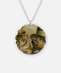 Vintage Cats in Hats Necklace