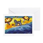 Schnauzer at the beach Greeting Cards (Pk of 10)