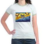 Schnauzer at the beach Jr. Ringer T-Shirt