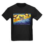 Schnauzer at the beach Kids Dark T-Shirt