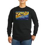Schnauzer at the beach Long Sleeve Dark T-Shirt