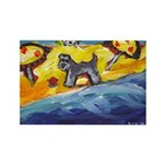 Schnauzer at the beach Rectangle Magnet (100 pack)