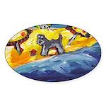 Schnauzer at the beach Oval Sticker