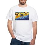 Schnauzer at the beach White T-Shirt