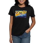Schnauzer at the beach Women's Dark T-Shirt