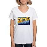 Schnauzer at the beach Women's V-Neck T-Shirt