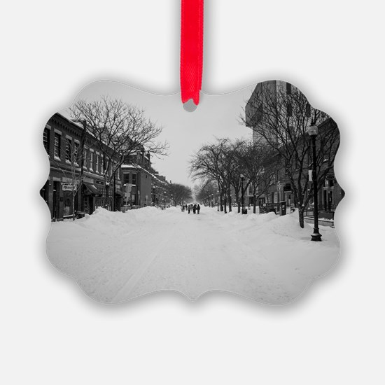 Wintry Boston, Newbury St Ornament