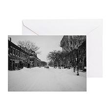 Wintry Boston, Newbury St Greeting Card