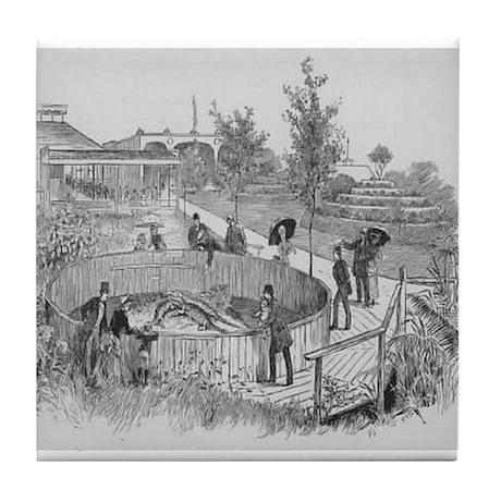 1885~Spanish Fort Alligator Tank Tile Coaster