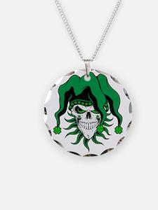 Irish Jester Skull Necklace Circle Charm