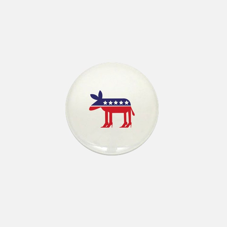 Democratic Donkey on Heels Mini Button