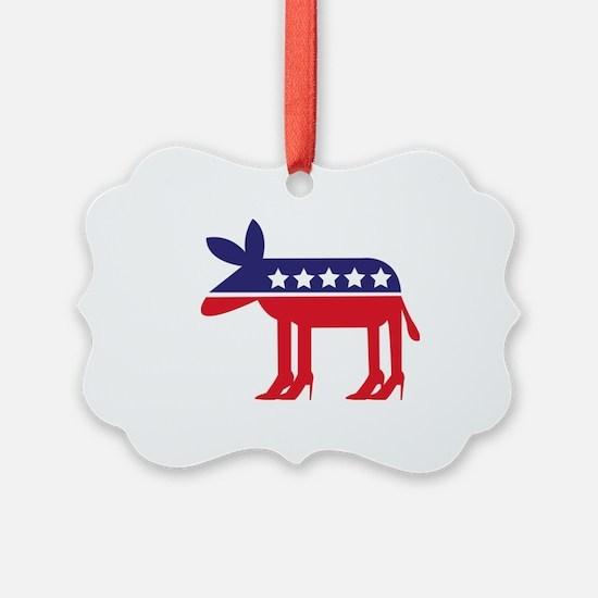 Democratic Donkey on Heels Ornament