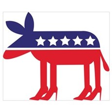 Democratic Donkey on Heels Poster