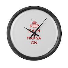Keep Calm and Marisa ON Large Wall Clock