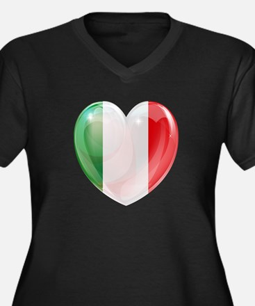 My Italian H Women's Plus Size V-Neck Dark T-Shirt