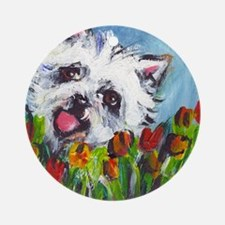 Westie tulips Ornament (Round)