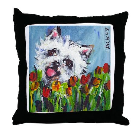 Westie tulips Throw Pillow