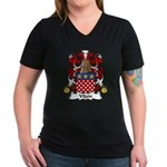 Vilain Family Crest  Women's V-Neck Dark T-Shirt