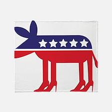 Democratic Donkey on Heels Throw Blanket