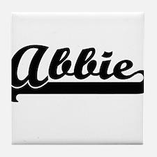 Abbie Classic Retro Name Design Tile Coaster