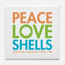 Peace-Love-Shells Tile Coaster