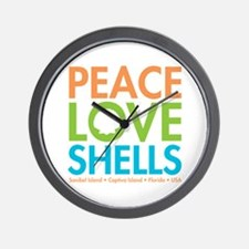 Peace-Love-Shells Wall Clock