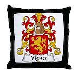 Vignes Family Crest Throw Pillow