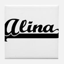 Alina Classic Retro Name Design Tile Coaster