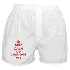 Keep Calm and Savanah ON Boxer Shorts